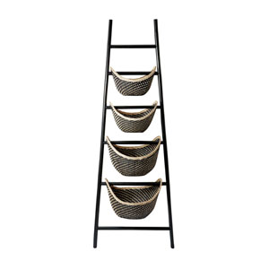 Black Plaid Ladder Basket