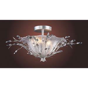 Circeo Vetro Silver Leaf Semi-Flush Ceiling Light