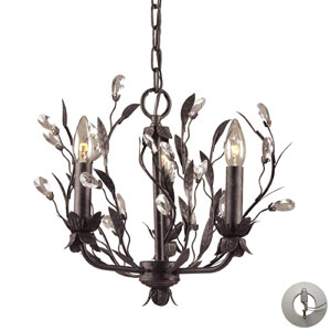Circeo Three Light Chandelier In Deep Rust And Crystal Droplets w/ An Adapter Kit