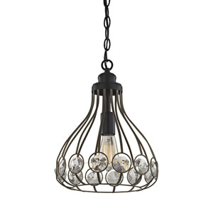 Crystal Web Bronze Gold and Matte Black 15-Inch One-Light Pendant