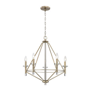 Lacombe Aged Silver Five-Light Chandelier