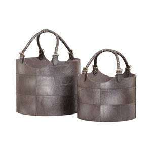 Nested Gunmetal Leather Baskets - Set of Two