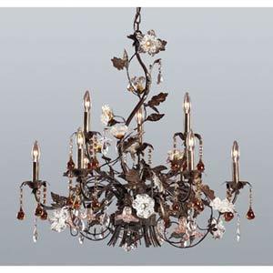 Cristallo Fiore Deep Rust Nine-Light Chandelier