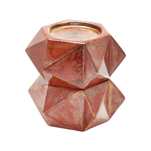 Ceramic Star Russet Bronze Candle Holders - Set of Two