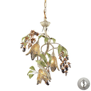 Huarco Three Light Chandelier In Seashell And Amber Glass w/ An Adapter Kit