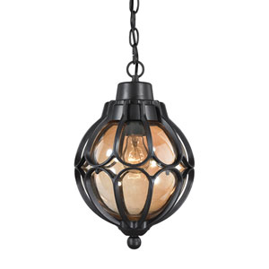 Madagascar Matte Black One-Light Outdoor Pendant