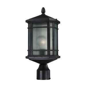 Lowell Matte Black One-Light Outdoor Post Lantern