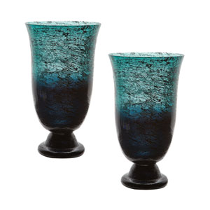 Ombre Emerald Flared Vase - Set of Two