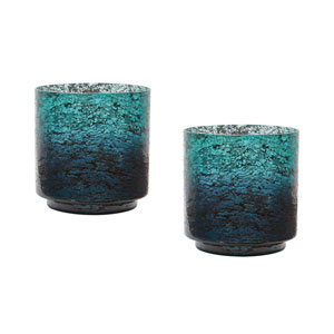 Ombre Emerald Hurricanes Vases - Set of Two