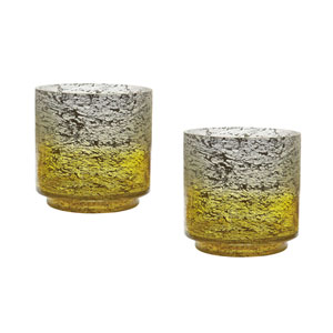 Ombre Lemon Hurricanes Vases - Set of Two
