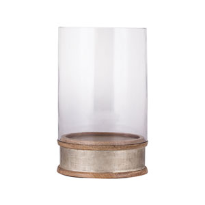 German Silver with Light Mango Wood 11-Inch Candle Holder