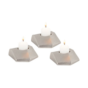 Trope Dual Tone Nickel Plate Candle Holder - Set of Three