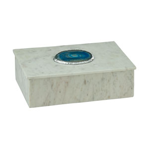 Antilles Blue Agate and White Marble 10-Inch Box