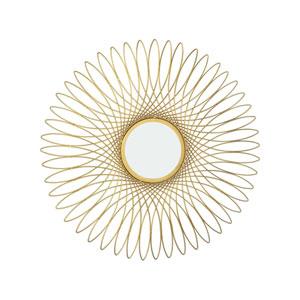 Guilloche Gold 27-Inch Round Mirror