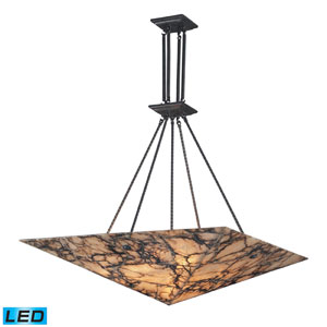 Imperial Granite Nine Light LED Pendant In Antique Brass And Veined Stone