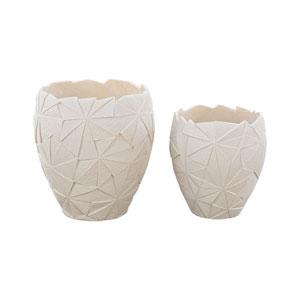 Origami Matte White Vases - Set of Two