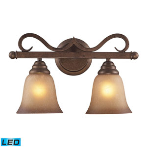 Lawrenceville Two Light LED Bath Fixture In Mocha And Antique Amber Glass