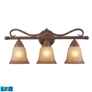 Three Light LED Bath Fixture In Mocha And Antique Amber Glass