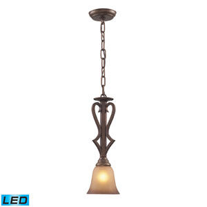 Lawrenceville One Light LED Pendant In Mocha And Antique Amber Glass