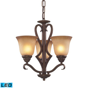 Lawrenceville LED Chandelier In Mocha And Antique Amber Glass