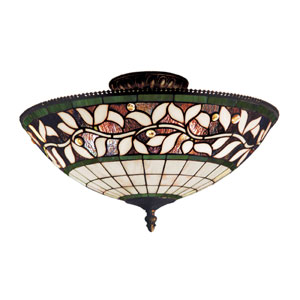 English Ivy Tiffany Bronze Three Light Semi-Flush Mount Fixture