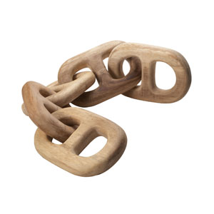 Hand Carved Five-Link Decorative Wooden Chain