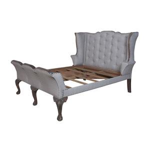 Handpainted Heritage Dark Grey Stain King Sleigh Bed