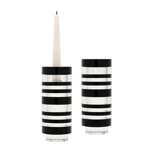 Tuxedo Crystal Seven-Inch Candle Holder - Set of Two