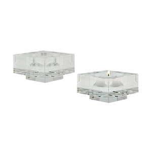 Windowpane Crystal Four-Inch Square Candle Holder - Set of Two