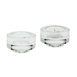 Fluted Crystal Two-Inch Votive Candle Holders - Set of Two