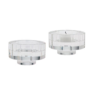 Windowpane Crystal Three-Inch Round Candle Holder - Set of Two
