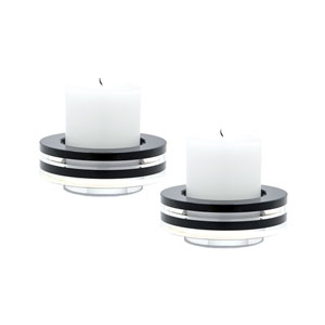 Tuxedo Crystal Five-Inch Round Candle Holder - Set of Two