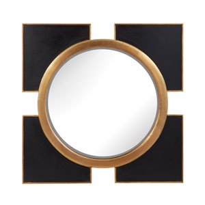 Black Coined 36-Inch Square Mirror
