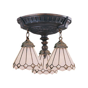 Mix-N-Match Aged Three Light Semi Flush Mount Fixture Fixture