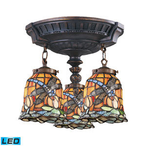 Mix-N-Match Aged Walnut Replaceable LED Three Light Semi-Flush Mount Fixture