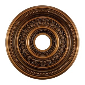 English Study Antique Bronze 18-Inch Ceiling Medallion