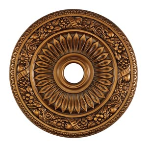 Floral Wreath Antique Bronze 24-Inch Ceiling Medallion