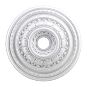English Study White 24-Inch Ceiling Medallion