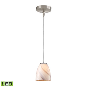 Low Voltage Brushed Nickel LED One Light Mini Pendant with CrFme Glass