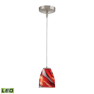 Low Voltage Brushed Nickel LED One Light Mini Pendant with Candy Glass