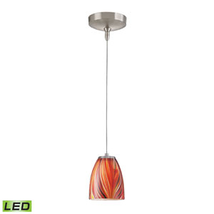Low Voltage Brushed Nickel LED One Light Mini Pendant with Multi Glass