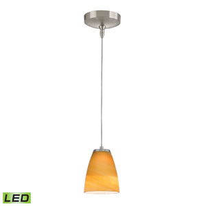 Low Voltage Brushed Nickel LED One Light Mini Pendant with Desert Sand Glass