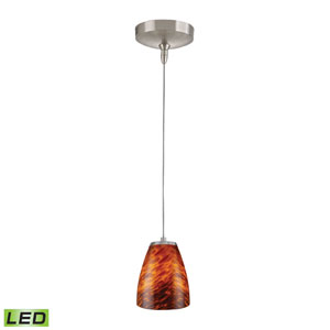 Low Voltage Brushed Nickel LED One Light Mini Pendant with Espresso Glass