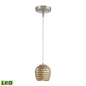 Low Voltage Brushed Nickel LED One Light Mini Pendant with Gold leaf Glass
