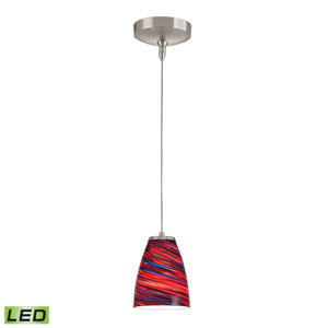 Low Voltage Brushed Nickel LED One Light Mini Pendant with Red Twist Glass