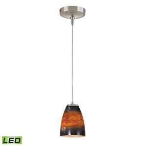 Low Voltage Brushed Nickel LED One Light Mini Pendant with Umber Sunrise Glass