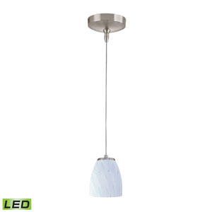 Low Voltage Brushed Nickel LED One Light Mini Pendant with Simple White Glass