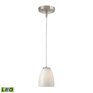 Low Voltage Brushed Nickel LED One Light Mini Pendant with White Swirl Glass