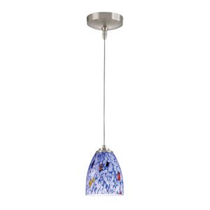 Low Voltage Brushed Nickel One Light Mini Pendant with Starburst Blue Glass