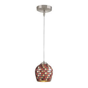 Low Voltage Brushed Nickel One Light Mini Pendant with Multi Fusion Glass